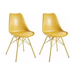 Zestaw 2 żółtych krzeseł Støraa Lucinda