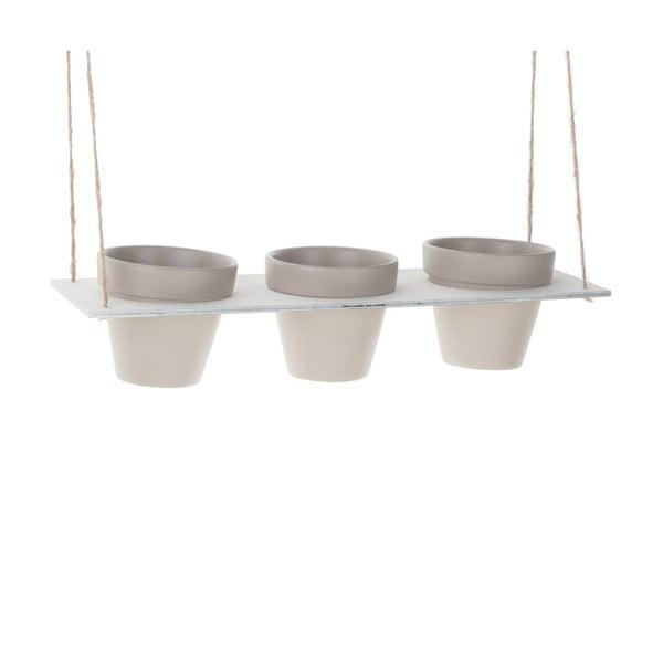 Zestaw 3 podwieszanych doniczek Grey