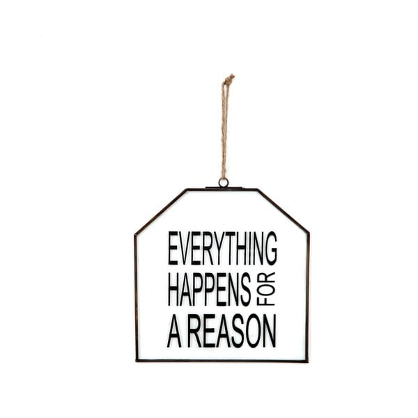 Szklana tabliczka z napisem Everything, 20x22 cm