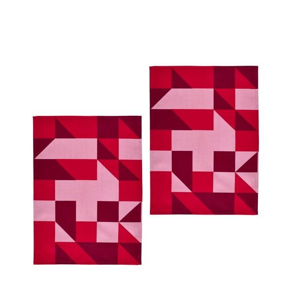 Zestaw 2 ściereczek Zone, 70x50 cm, czerwony