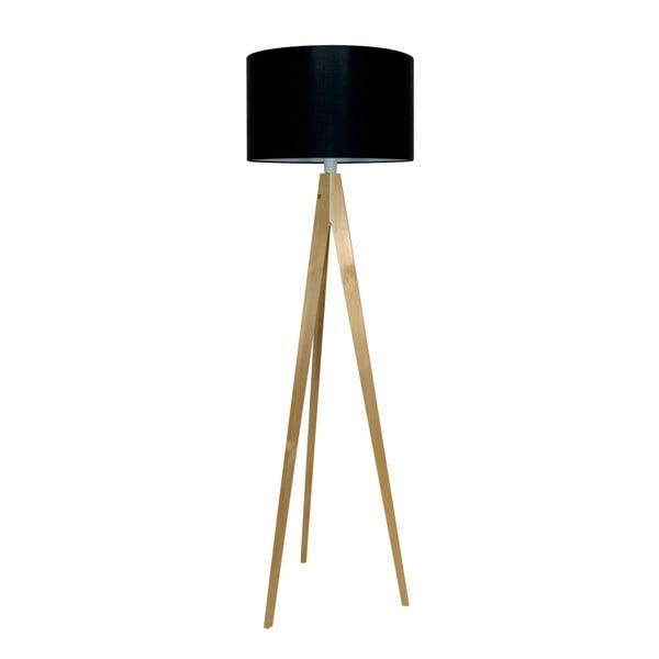 Czarna lampa stojąca Artista, brzoza, 150 cm