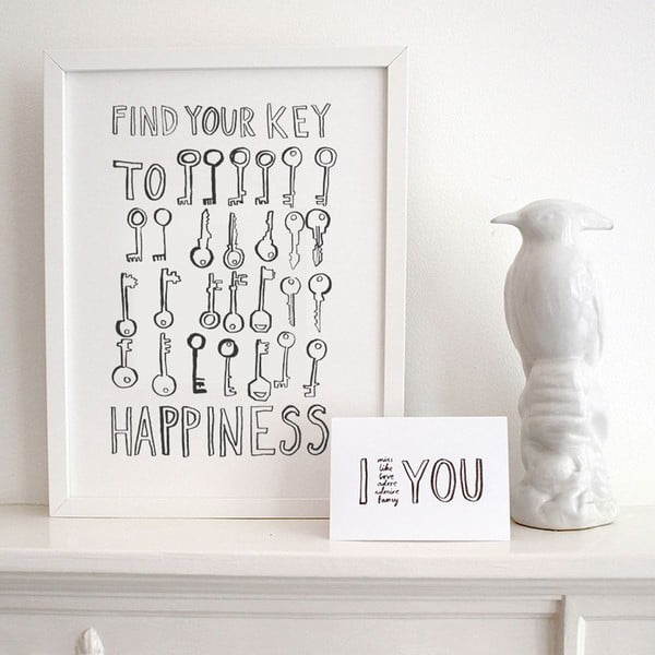 Plakat Key To Happiness, 30x40 cm