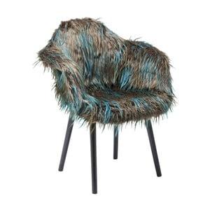 Brązowo-niebieskie krzesło do jadalni z obiciem ze skóry ekologicznej Kare Design Yeti