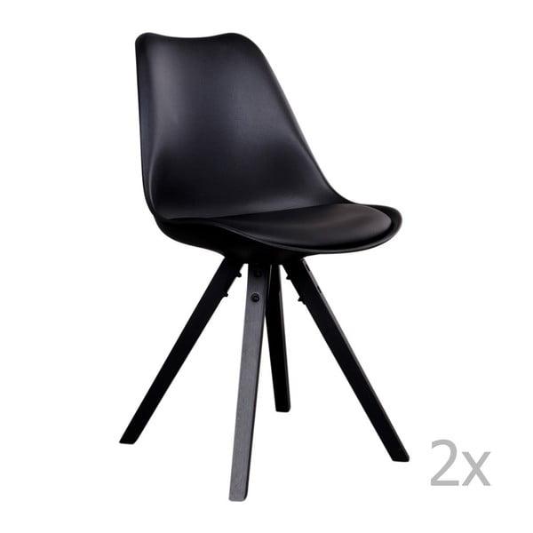 Zestaw 2 czarnych krzeseł z czarnymi nogami House Nordic Bergen