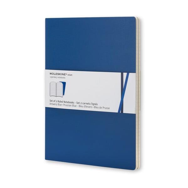 Zestaw 2 notesów Moleskine Blue Volant, 14x9 cm