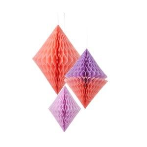 Papierowa dekoracja Honeycomb Diamond Peach&Lilac, 3 szt.