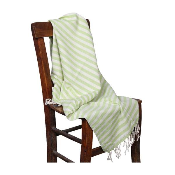 Zielony ręcznik hammam Akasya Green, 90x190cm