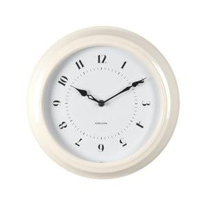 Kremowy zegar ścienny Present Time Fifties, średnica 30cm
