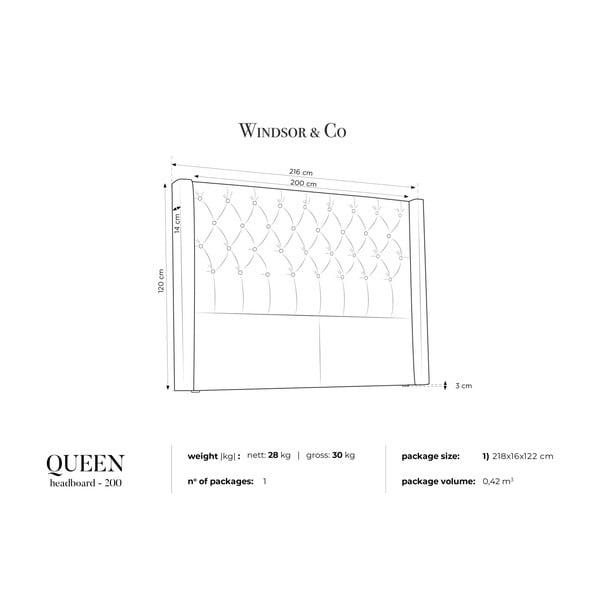 Modré zagłówek łóżka Windsor & Co Sofas Queen, 216x120 cm