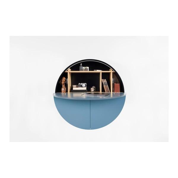 Niebiesko-czarne  wielofunkcyjne biurko ścienne EMKO Pill