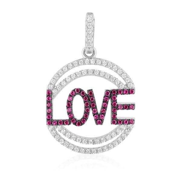 Srebrny wisiorek różowymi i białymi cyrkoniami Swarovski Elements Crystals Love Heart