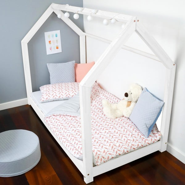 Białe łóżko dziecięce w kształcie domku Benlemi TERY 80x180 cm