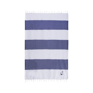 Ręcznik hamam Sea Pool White Dark Blue, 100x170 cm