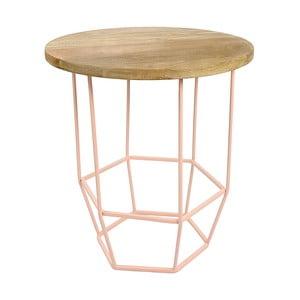 Jasnoróżowy stolik z drewnianym blatem HF Living Hexa Blush