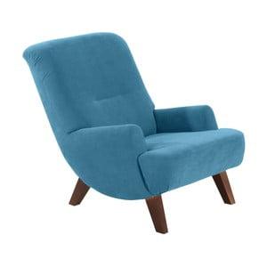 Niebieski fotel z ciemnobrązowymi nogami Max Winzer Brandford Velor
