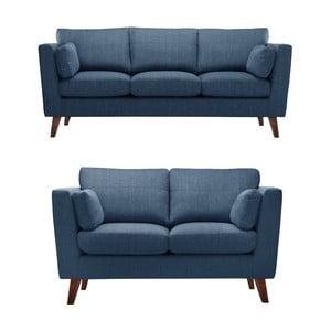 Szaroniebieski zestaw 2 sof dwuosobowej i trzyosobowej Jalouse Maison Elisa