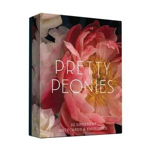 Zestaw kartek na życzenia i kopert Chronicle Books Prety Peonies, 20 sztuk