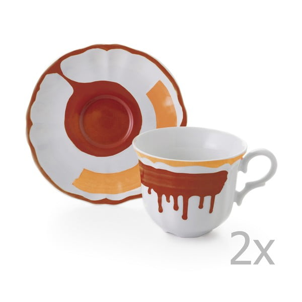 Zestaw 6 filiżanek z podstawką Giotto Orange/Red