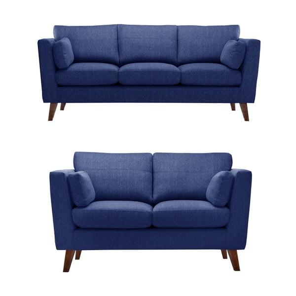 Granatowy zestaw 2 sof dwuosobowej i trzyosobowej Jalouse Maison Elisa