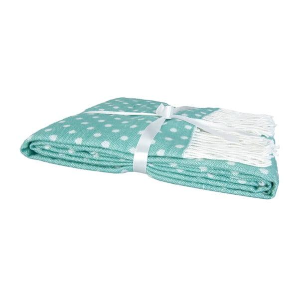 Zielony pled w groszki Clayre & Eef Dots, 130x150 cm