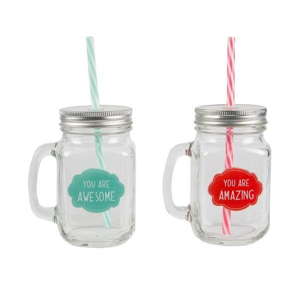 Zestaw 2 szklanek ze słomką Sass & Belle A&A