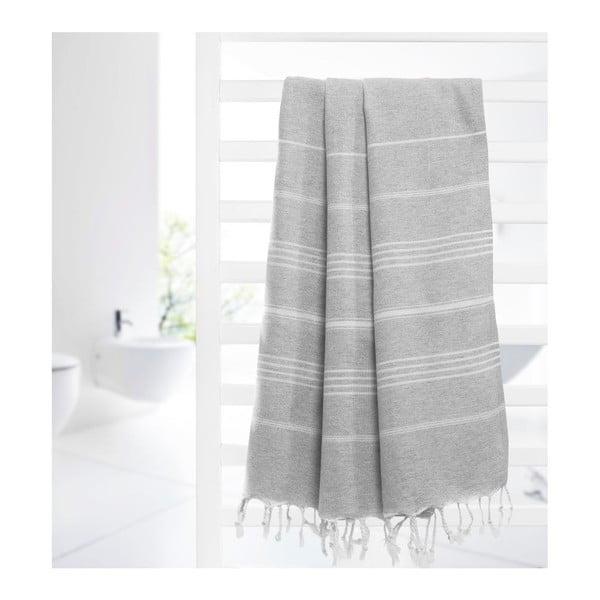 Ręcznik hammam Cross Grey, 95x175 cm