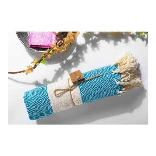 Ręcznik hammam Diamonds Turquoise, 100x180 cm