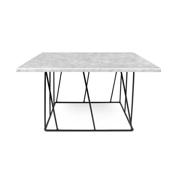 Biały stolik marmurowy z czarnymi nogami TemaHome Helix, 75 cm