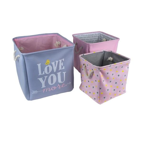 Zestaw 3 koszy na zabawki Love You
