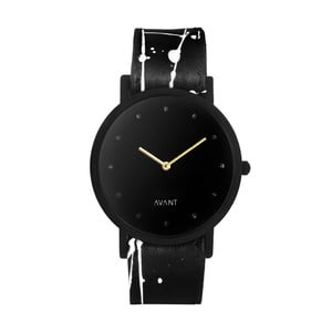 Czarny zegarek unisex z czarno-białym paskiem South Lane Stockholm Avant Pure