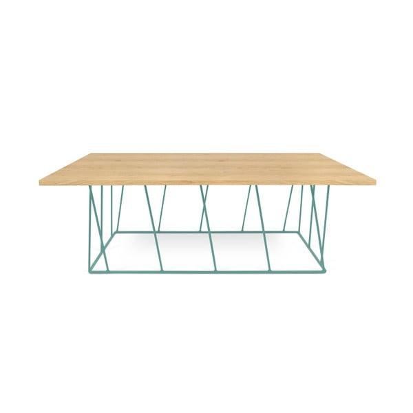 Dębowy stolik z zielonymi nogami TemaHome Helix, 120 cm