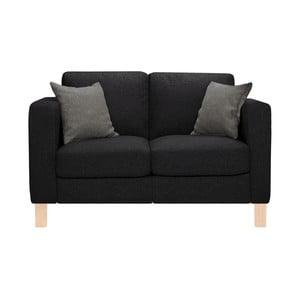 Czarna sofa dwuosobowa z 2 antracytowymi poduszkami Stella Cadente Canoa