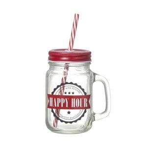 Czerwona szklanka ze słomką Parlane Jar