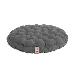 Szara poduszka do siedzenia wypełniona piłeczkami do masażu Linda Vrňáková Bloom, Ø 65 cm