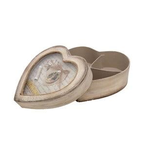Drewniane pudełko na przybory do szycia Antic Line Heart