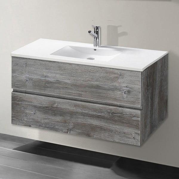Szafka do łazienki z umywalką i lustrem Flopy, motyw vintage, 90 cm