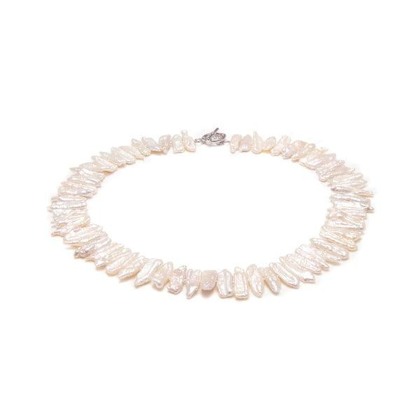 Naszyjnik z białych pereł słodkowodnych Biwalo