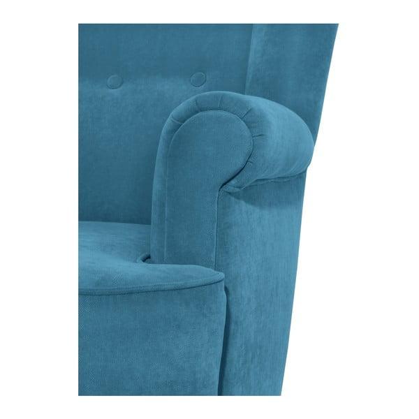 Niebieskozielony fotel Max Winzer Kendra Velor