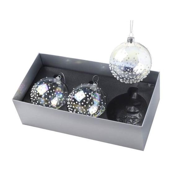 Ozdoby świąteczne Ball Dotty Clear, 3 szt.