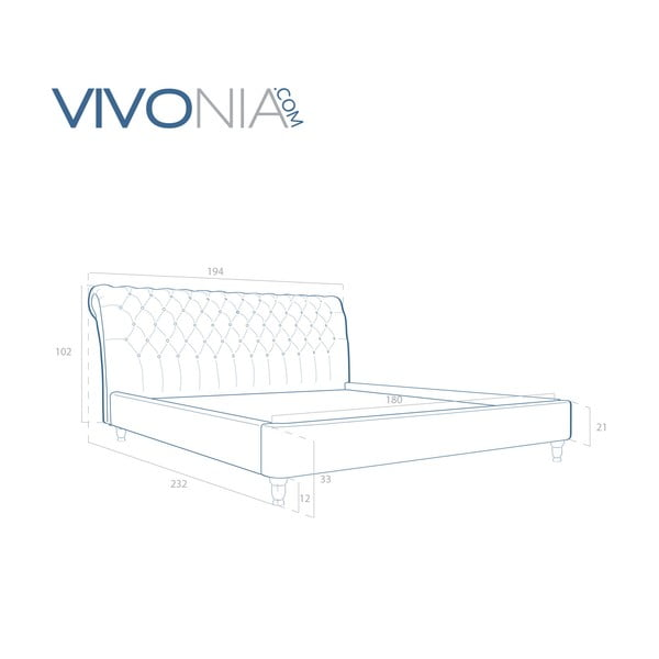 Pastelowo niebieskie łóżko z naturalnymi nóżkami Vivonita Allon, 180x200 cm