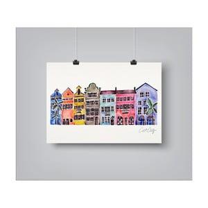 Plakat Americanflat Rainbow Row, 30x42 cm