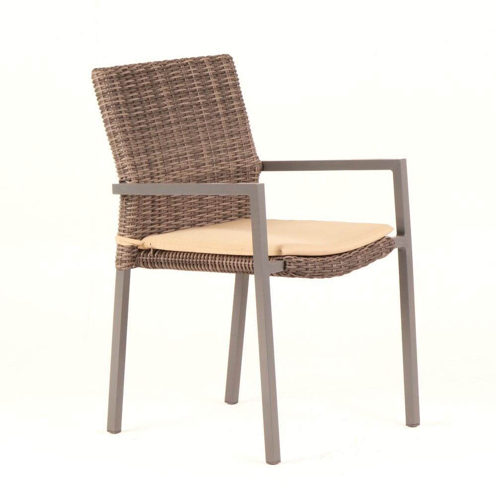 Zestaw 4 krzeseł ogrodowych ze sztucznego rattanu z poduszkami Ezeis Zephyr