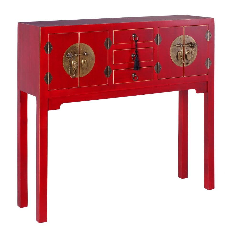 Czerwona konsola z 3 szufladami ixia east bonami for Ixia muebles