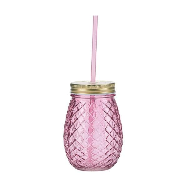Różowa szklanka ze słomką Miss Étoile Pineapple