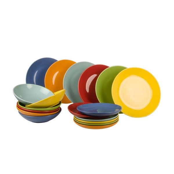 18-częściowy komplet talerzy Kaleidos, kolorowy
