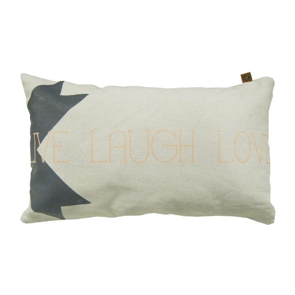 Kremowa poduszka Overseas Live Laugh Love, 30x50 cm