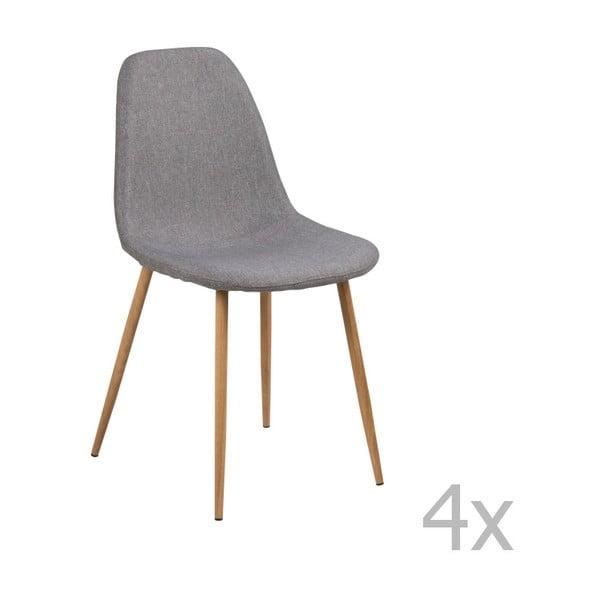 Zestaw 4 jasnoszarych krzeseł Actona Wilma Sawana Dining Set