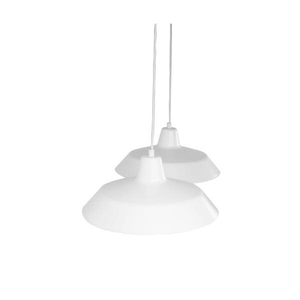 Lampa wisząca z 2 białymi kablami i kloszami w białym oraz miedzianym kolorze Bulb Attack Cinco