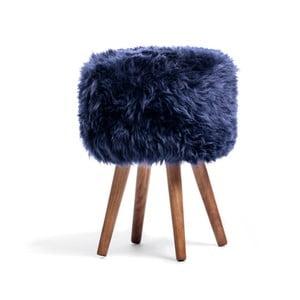 Granatowy stołek z siedziskiem z owczej wełny Royal Dream Sheepskin Stool