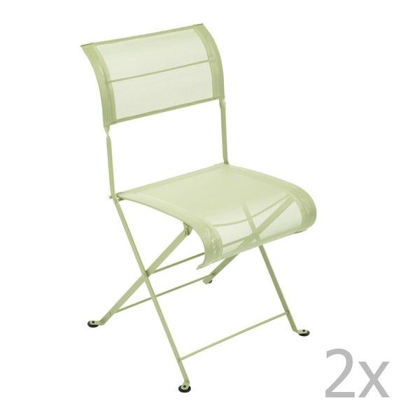 Zestaw 2 jasnozielonych krzeseł składanych Fermob Dune